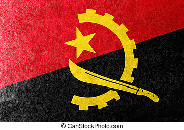 Angola Flag painted on leather texture