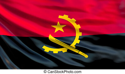 Angola flag. Waving flag of Angola 3d illustration