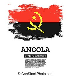 Angola Flag with Brush Strokes. Vector Illustration. Independence Day.