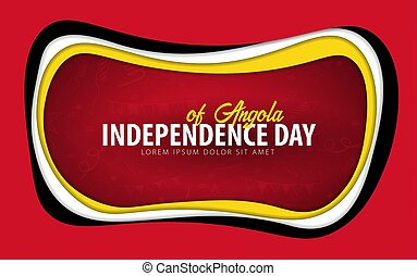 Angola. Independence day greeting card. Paper cut style.