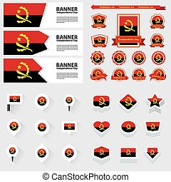 Angola independence day, infographic, and label Set.