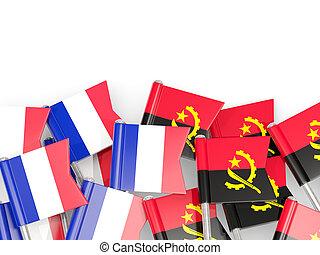 angola, isolé, france, drapeaux, white., epingles