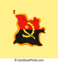 Angola - Map colored with Angolan flag