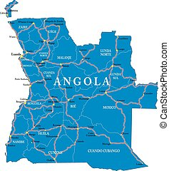 Detailed vector map of Angola with country borders, county names, main roads and a highly detailed state silhouette.