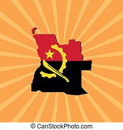 Angola map flag on sunburst
