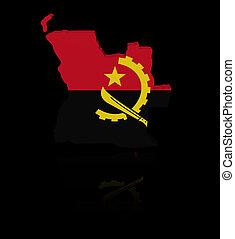 Angola map flag with reflection illustration