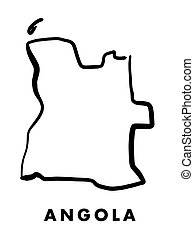 Angola simple map outline - smooth simplified country shape map vector.