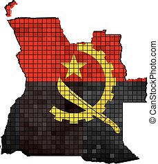 Angola map with flag inside