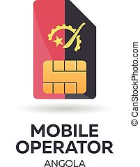 Angola mobile operator. SIM card with flag. Vector illustration.