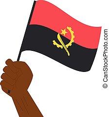 angola, nacional, mão, bandeira, segurando, levantamento