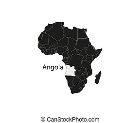 Angola on africa map vector. Vector illustration.
