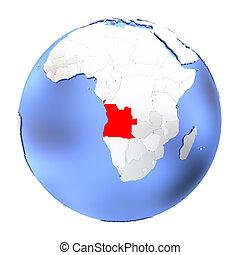 Angola on metallic globe isolated