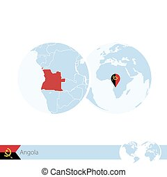 Angola on world globe with flag and regional map of Angola.