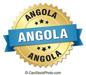 angola, ronde, gouden, badge, met, blauw lint