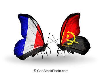 angola, symbole, deux, relations, france, papillons, drapeaux, ailes