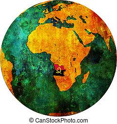 Angola territory and flag on map of globe