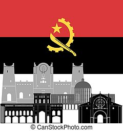 The national flag of the country and the contour image of architectural landmarks of this country. Illustration on white background.