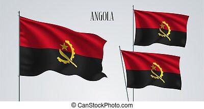 Angola waving flag set of vector illustration. Black red colors