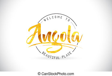 Angola Welcome To Word Text with Handwritten Font and Golden Texture Design.