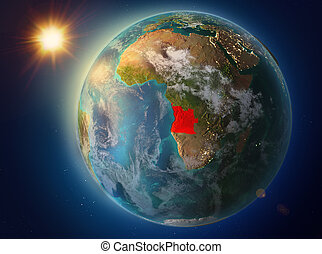 Angola with sunset on Earth