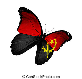 Angolan flag butterfly flying, isolated on white background
