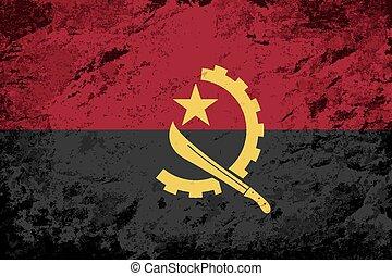 Angolan flag. Grunge background.