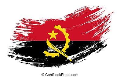 Angolan flag grunge brush background. Vector illustration.