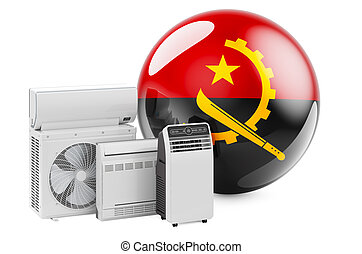 Angolan flag with cooling and climate electric devices. Manufacturing, trading and service of air conditioners in Angola, 3D rendering