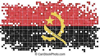 Angolan grunge tile flag. Vector
