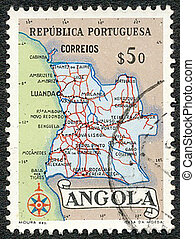 map of Angola, circa 1954