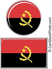Angolan round and square icon flag.