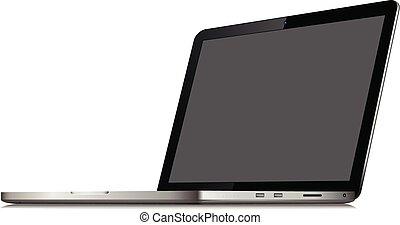 angolato, fondo, mockup, laptop, -, isolato, sagoma, vuoto, posizione, schermo bianco