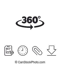 angolo, 360, gradi, segno, icon., geometria, matematica,...