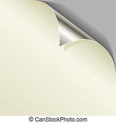 angolo, arricciato, pagina, metallico