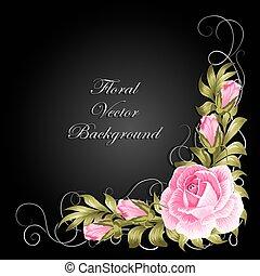 angolo, composizione, con, rose, e, leaves.