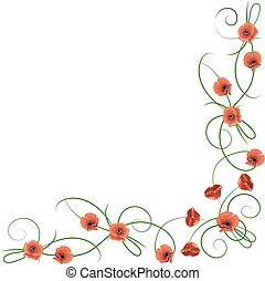angolo, fiori, composizione, rosso, papaveri