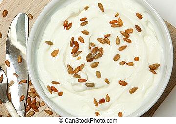 angolo, girasole, alto, semi, yogurt, tavola, vista