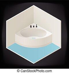 angolo, isometrico, jacuzzi, bagno