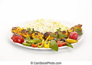 angolo, kebab, sputo, basso, pollo cotto, vista