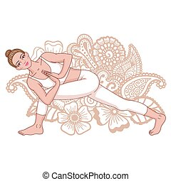 angolo, pose., silhouette., yoga, revolved, lato, donne