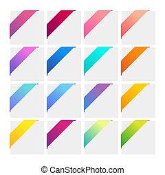 angolo, set, colorito, ribbons.