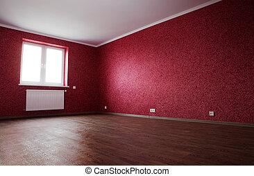 angolo, stanza vuota, rosso