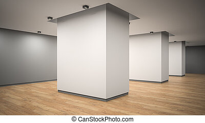 angolo, vuoto, vista, interpretazione, galleria, interno, 3d