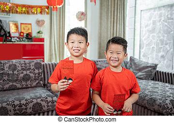 angpau, camisas, dos, sonrisa, rojo, niños