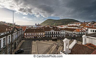 Angra do Heroismo downtown and Brazil mountain - Wide angle...