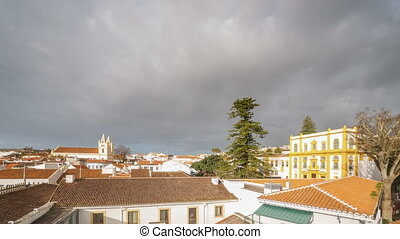 Angra do Heroismo roofs time lapse in Terceira - Wide angle...