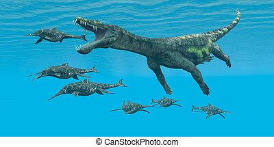 angriffe, nothosaurus, shonisaurus