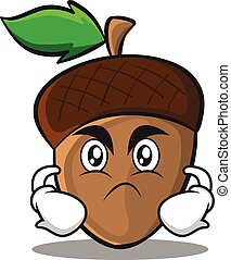 Angry acorn cartoon character style