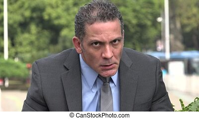 Angry Adult Hispanic Businessman