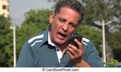 Angry Adult Hispanic Man Having An Argument